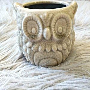 Boho Owl Vase with Crackled Finish Cream